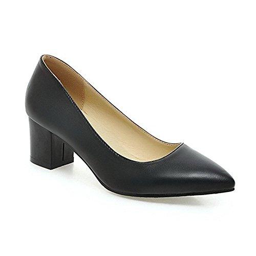 ed Toe Pull On Pu Solid Kitten Heels Pumps-Shoes Black4.5 B(M) US ()