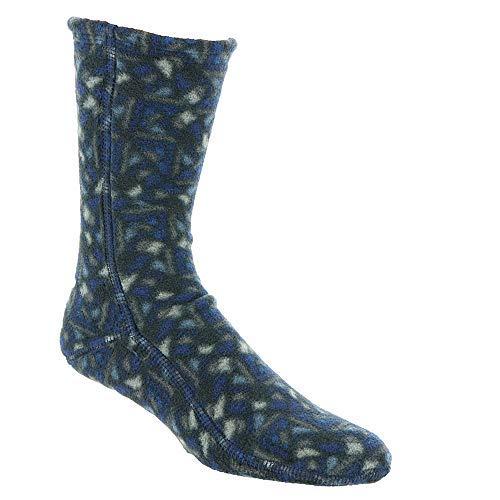 Acorn Fleece Socks - Navy Woodblock - Large (Sock Fleece)