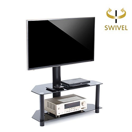 TAVR TV Stand with Swivel Mount and Height adjustable Bracket for 32 to 55 inch LCD LED QLED TVs and Glass Media Storage Shelf Black TW1001