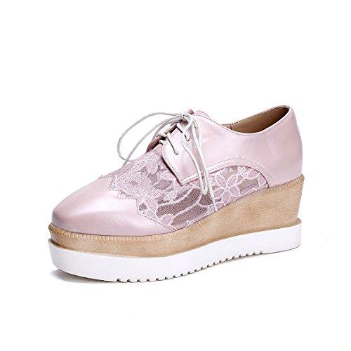 épais d'été Pink pour Fond Chaussures Pente Occasionnels Taille Sandales Sauvages à Femmes Cravate Grande Dentelle Sqf5pf8w