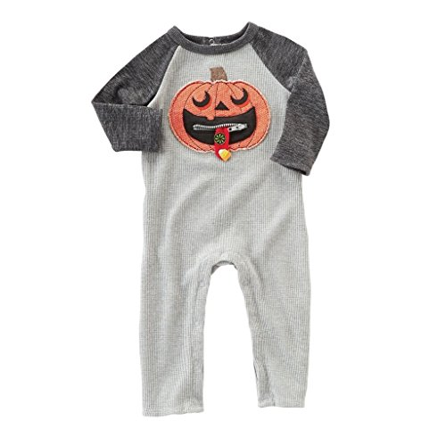 Mud Pie Baby Boys' Halloween Long Sleeve Waffle Weave One Piece Outfit, Gray 3-6 -