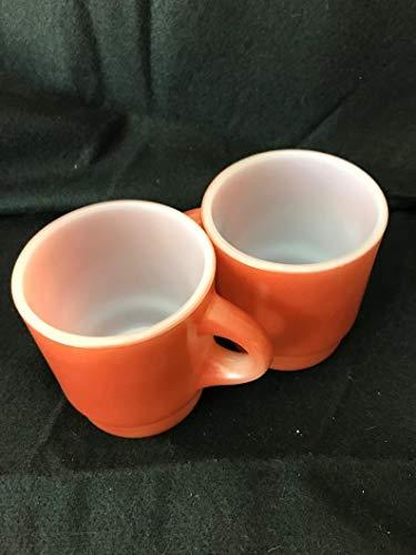 (Pair Vintage Fire King Mugs Anchor Hoking Orange Stacking Coffee Mugs Camping Glamping)
