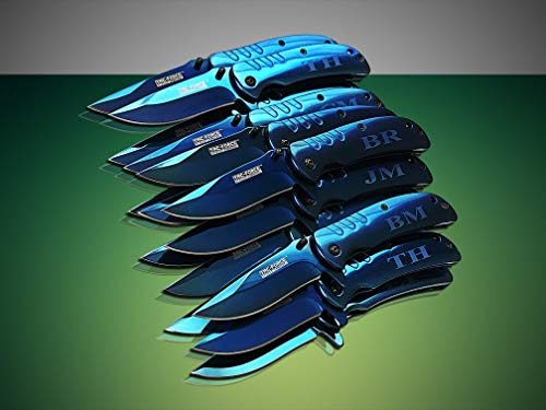 Eternity Engraving 5 Engraved Pocket Knifes, 5 Folding Pocket Knives Gift Set Personalized for Men and Women, Customized Knife Gift (Blue) by Eternity Engraving (Image #4)