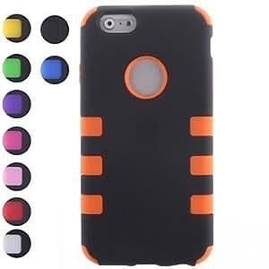 GDW tres-en-uno robot pc diseño y de silicona caso de cuerpo completo para iphone 6 (colores surtidos) , Orange