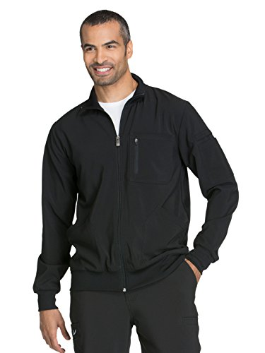 (Cherokee Infinity CK305A Men's Zip Front Warm-Up Jacket Black M)