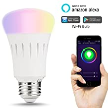 LOHAS WIFI Smart LED Bulb, A19 LED 60W Equivalent, Smartphone Controlled Daylight & Night Light, Dimmable Multicolored Color Changing LED Bulbs, Energy Saving Bulbs for Home Lighting, Festival Lights
