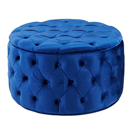 Duhome Ottoman,Modern Pouf Blue Small Ottoman Foot Rest Round Tufted Velvet Fabric Stool (Ottoman Velvet Round)