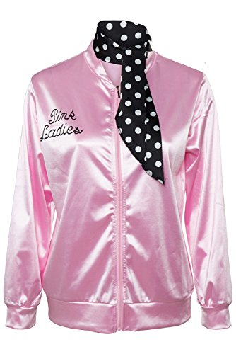 Fancycloth 50S Grease T-Bird Danny Pink Ladies Satin Jacket Costume with Polka Dot Scarf Medium