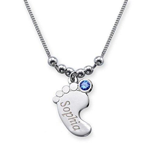 Babyfuß Anhänger mit Name graviert und farbigem Geburtsmonat Swarovski Kristall (Geburtsstein) / Babyfuß + Halskette (40 cm) in 925 Sterling Silber / die besondere Namenskette für die Mama (Dezember - Blauer Topas)