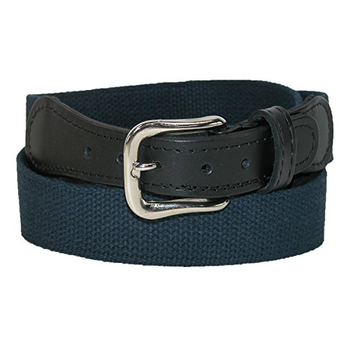 Boston Leather Men's Cotton Web Belt with Leather Tabs, 36, Navy