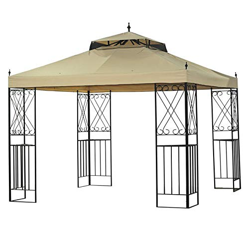 Garden Winds LCM1090B The Classic Scroll 10' x 12' Gazebo Standard 350 Replacement Canopy, Beige