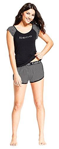 (bebe Womens Scoop Neck Cap Sleeve Logo Top Striped Shorts Pajama Set Black Large)