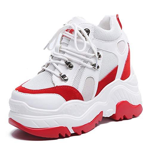 Chaussures A Talons Pompes Espadrilles Femmes forme Mesh Occasionnels Rouge Internes Wedge Augmenté Respirant Plate Haute EXBqA