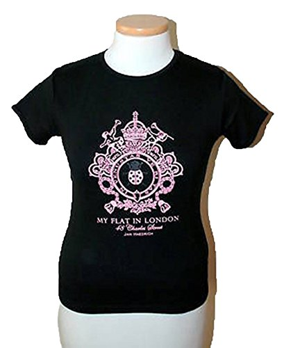 MY FLAT IN LONDON BLACK T-SHIRT WITH PINK CREST SIZE SMALL BNWT