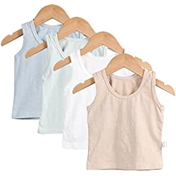 Guozyun Baby Boys Tank Tops with Sleeveless T-Shirts Undershirt Cami Shirts for 6-36 Months Infant Toddler Kids(4Pack) (6-12 Months, 4 Color)