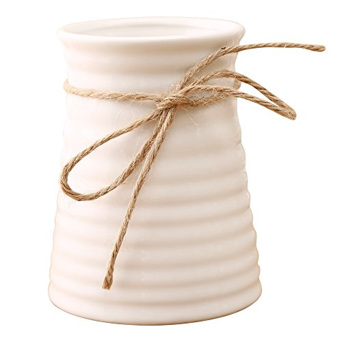 Anding 5.7inches Modern Ribbed Design Small White Ceramic Decorative Tabletop Centerpiece Vase/Flower Pot