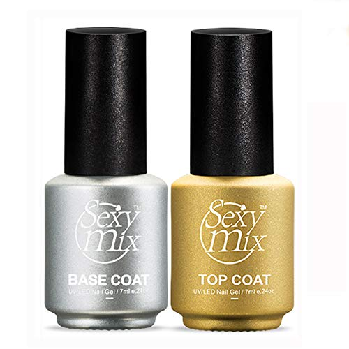 (SEXY MIX Gel Nail Polish No Wipe Top and Base Coat Set (2x7ml) Soak Off UV LED Long-lasting and Shiny Finish Mini Bottles)