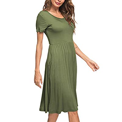 AUSELILY Women's Short Sleeve Pockets Empire Waist Pleated Loose Swing Casual Flare Dress at Women's Clothing store