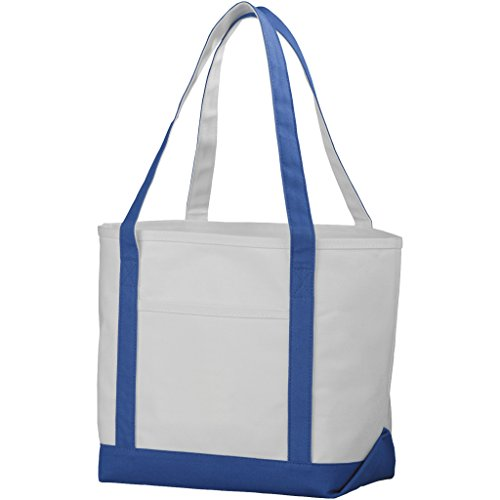 Classic Cotton Boat Tote - Bullet Premium Heavy Weight Cotton Boat Tote (13 x 7.1 x 19.7 inches) (Natural,Royal Blue)