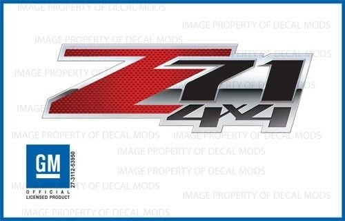- Chevy Silverado Z71 4x4 decals stickers Carbon Fiber Red Special - FSCFR (2007-2013) bed side 1500 2500 HD (set of 2)