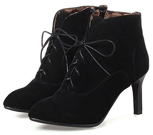 Black Aisun Lace Retro Ankle up Women's Faux Heel Stiletto Suede High Booties Toe Pointed O6OCqwr
