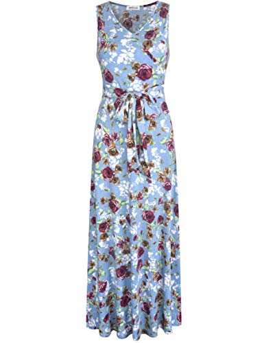 Aphratti Women's Sleeveless Faux Wrap V Neck Floral Vintage Long Maxi Dress Lake Blue14906 Medium