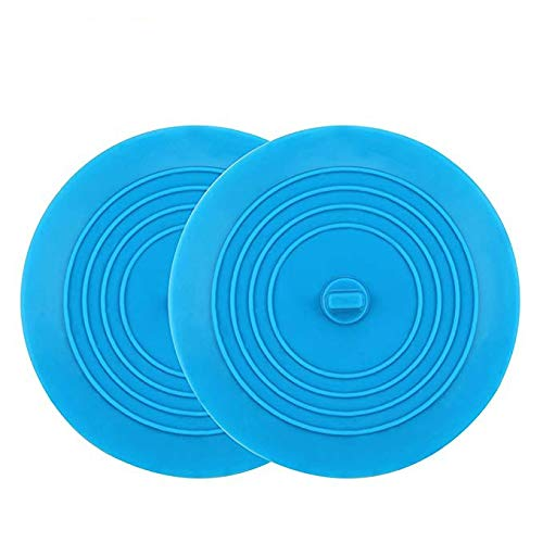 Kirecoo 2 Pack Tub Stopper 6 Inches Silicone Drain Bathtub Sink Plug Large Suction Cover for Your Kitchens Bathrooms and Laundries (Blue)