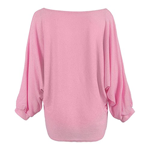 (LUCAMORE Women Solid O-Neck Oversized Batwing Knitted Pullover Loose Sweater Pink)