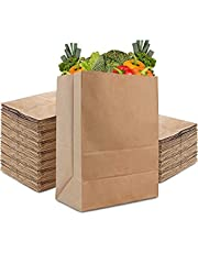 Acidea Grocery Bags 9.8 * 5.5 * 11 Inches 50Pcs Heavy Duty Kraft Brown Paper Grocery Bags Durable Kraft Paper Bags, Paper Barrel Sack Bags, 100% Recycled Kraft Paper Gift Bags Bulk