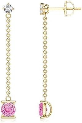 Negro viernes–Patio Cadena diamond y rosa Sapphire pendientes de gota para las mujeres