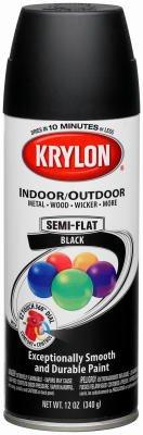 Krylon Diversified Brands 53565 Spray Paint, Indoor / Outdoor, Semi-Flat Black,12-oz. - Quantity 6