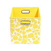 Modern Littles Rusty Folding Storage Bin, Yellow Giraffe