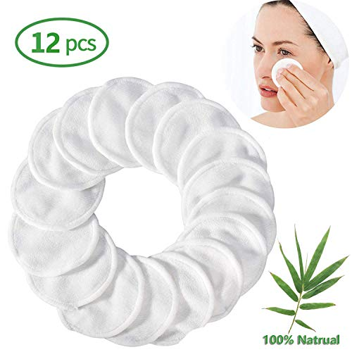 Reusable Makeup Remover Pads 12 Packs Bamboo Cotton Rounds Pads Cleansing Cloth Wipe, Washable Clean Skin Care Facial Toner Pads Cleansing Towel wipes (Best Facial Toner Machine 2019)