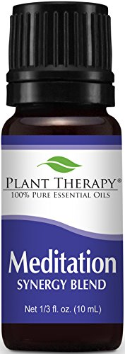 Plant Therapy Meditation Synergy Essential Oil Blend. 100% Pure, Undiluted, Therapeutic Grade. Blend of: Ylang-Ylang, Patchouli, Frankincense, Clary Sage, Sweet Orange and Thyme. 10 ml (1/3 oz).