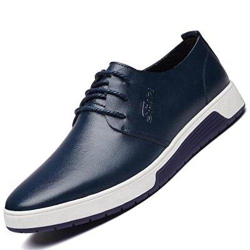Feidaeu Hommes Chaussures à Lacet Printemps PU Cuir Cire Bout Rond Basse Plat Léger Semelle Antidérapant Business Derby Bleu 63ssd