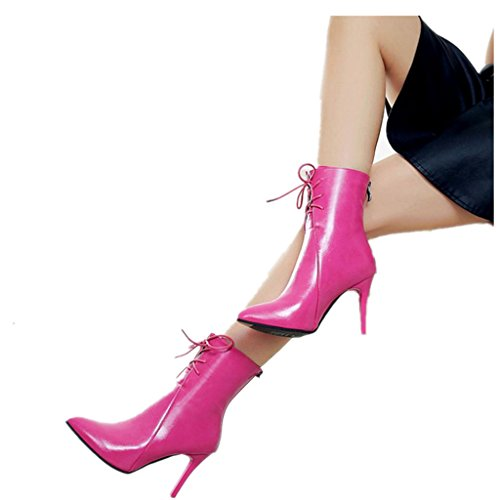 Kinghard Women Gladiator Pumps Boots Pointed Toe Lace Up High Heels Wedding Shoes High Heeled Boots Pleated Element Ankle Boots Classics Style Nightclub Carnival Stiletto Heels Boots  35  Hot Pink