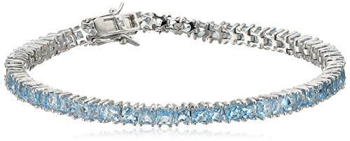 Swiss Blue Topaz Princess Cut Tennis Bracelet in Sterling Silver (3mm) (Topaz Tennis Bracelet)