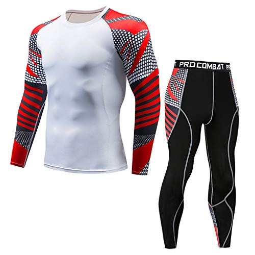 Hotcl Athletic Running Cycling Suit Men's Compression Pants Base Layer Dry Tights Leggings Compression Sport T Shirt White