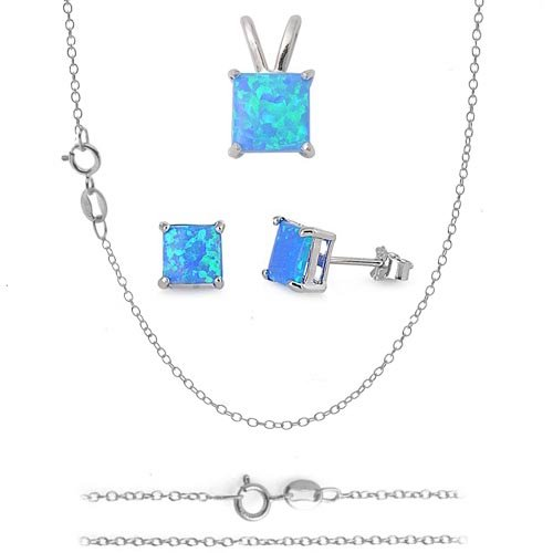 8MM (3ctw) & 6MM (1.25ctw) - SQUARE PRINCESS BLUE RAINBOW MYSTIC LAB OPAL STONE Italian .925 Sterling Silver matching Pendant-Charm & Earrings w/ 16in