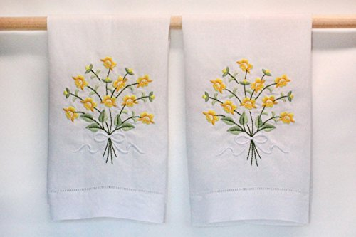 Embroidered Yellow Floral Bouquet Linen Hand Towels -- Set of (Linen Fingertip Towels)