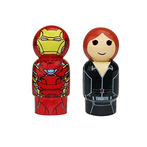 Bif Bang Pow! Captain America Civil War Iron Man & Black Widow Pin Mate Set of 2 Collectible, - Downey Robert Jr Style
