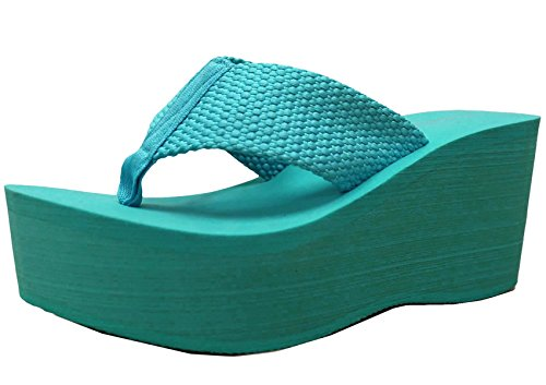 Cambridge Select Women's Comfy Platform Flip Flop Sandal (7.5 B(M) US, Aqua) (Thong Platform Shoes)