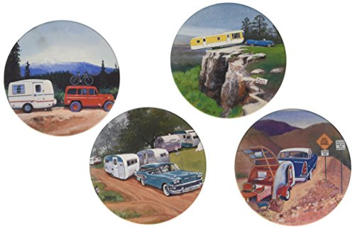 Vintage Trailers I Absorbent Coasters Set made our list of camping gifts couples will love and are the best gifts for couples who camp in tents or RVs including awesome gifts for people who love camping with their friends and families!