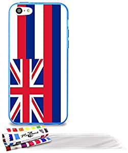 "Carcasa Flexible Ultra-Slim APPLE IPHONE 5C de exclusivo motivo [Bandera Hawaii] [Azul] de MUZZANO  + 3 Pelliculas de Pantalla ""UltraClear"" + ESTILETE y PAÑO MUZZANO REGALADOS - La Protección Antigolpes ULTIMA, ELEGANTE Y DURADERA para su APPLE IPHONE 5C"