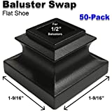 1/2' Stair Iron Baluster Swap Flat Shoes (50-Pack) Stair Parts for Square Scroll Basket Twist Knuckle Railing Metal Spindles NO Set Screw (Satin Black)