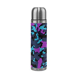 ALAZA Camouflage Purple Blue Stainless Steel Water Bottle Leak Proof Double Wall Vacuum Insulated Thermos Flask Genuine Leather Cover 17 Oz(500ml)