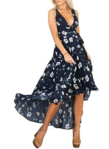 Azbro Mujer Vestido Estampado Floral Sin Mangas Cuello V Profundo Alto Bajo marino