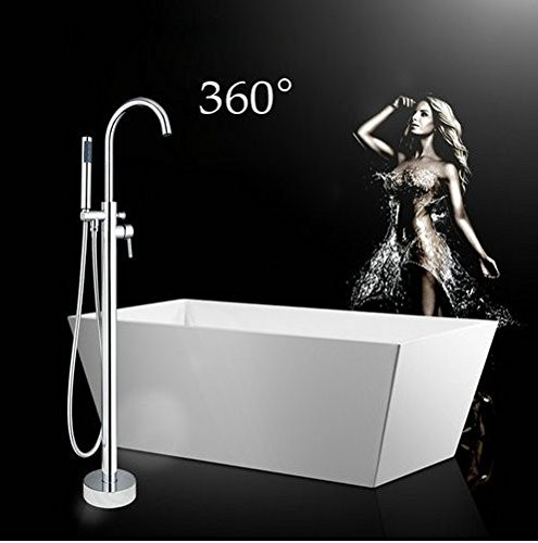 GOWE Luxury Bathtub Shower Faucet Set Floor Mounted Tub Shower Free Standing Mixer Tap Hot&Cold Water Shower Set 0