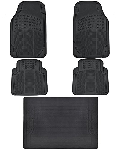(Heavy Duty 5pc Front & Rear Rubber Mats w/ Trunk Liner - All Weather Protection - Universal Car Truck SUV - Black)