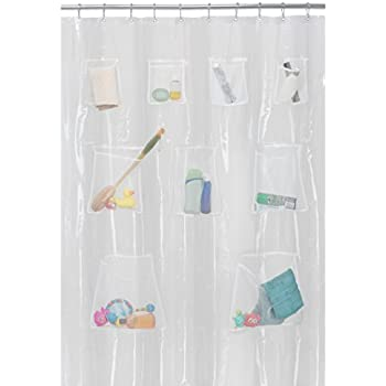 MAYTEX Mills Mesh Pockets Curtain Shower Liner 70 X 72 Inch Clear